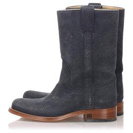 Chanel-Chanel Black Suede Round Toe Cowboy Boots-Brown,Black