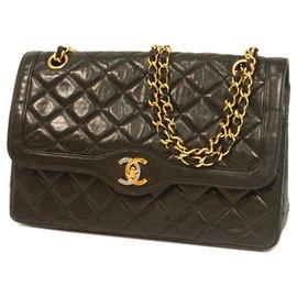 Chanel-Chanel Black Lambskin lined Flap Flap Bag-Black