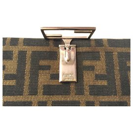 Fendi-FENDI wallet Zucca fabric and leather-Brown,Beige