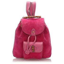 Gucci-Gucci Pink Bamboo Suede Drawstring Backpack-Pink
