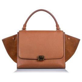 Céline-Celine Brown Medium Leather Trapeze Satchel-Brown,Light brown