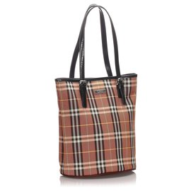 Burberry-Burberry Brown House Check Canvas Tote Bag-Brown,Multiple colors