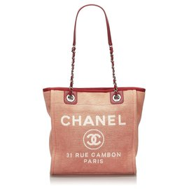 Chanel-Chanel Red Small Deauville Tote-White,Red
