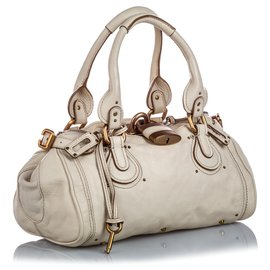 Chloé-Chloe White Leather Paddington Handbag-White,Cream