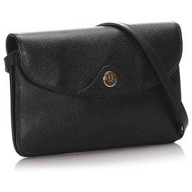 Dior-Sac bandoulière en cuir noir Dior-Noir