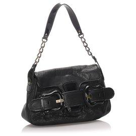 Fendi-Fendi Black Leather B Bis Bag-Black