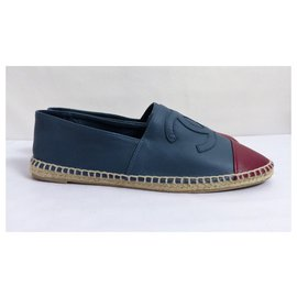 Chanel-Espadrilles-Blue,Dark red