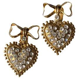 Autre Marque-vintage 80boucles d'oreilles pendantes-Doré