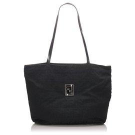 Fendi-Fendi Black Zucca Nylon Tote Bag-Black