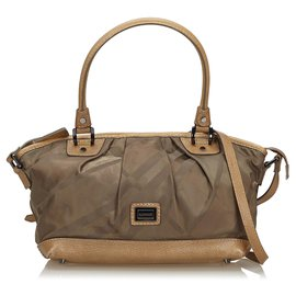 Burberry-Burberry Green Plaid Nylon Satchel-Brown,Green,Dark green