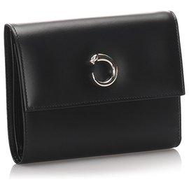 Cartier-Cartier Black Leather Panthere Wallet-Black