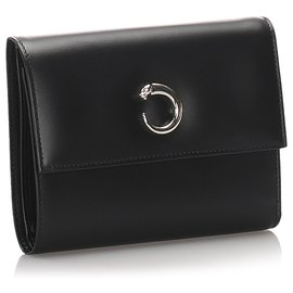 Cartier-Portefeuille Cartier Black Leather Panthere-Noir