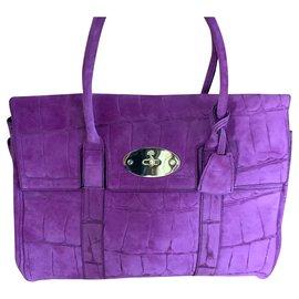 Mulberry-Bayswater Suede Croc Print-Purple