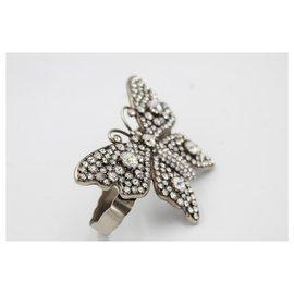 Gucci-Bracelet Gucci réglable, butterfly. argentée et strass-Argenté