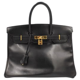 Hermès-Hermès Birkin 35 handbag in black box leather-Noir