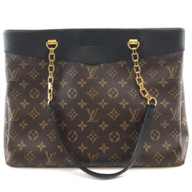 Louis Vuitton-Louis Vuitton Pallas Shopper Monogram Canvas Black calf leather-Brown