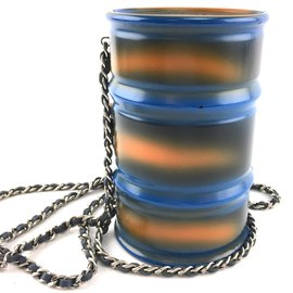 Chanel-Chanel Clutch CC Minaudiere Oil Drum Blue Metal-Multiple colors