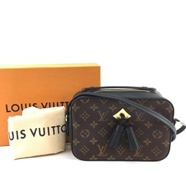 Louis Vuitton-Louis Vuitton Saintonge Monogram Canvas Black calf leather-Brown