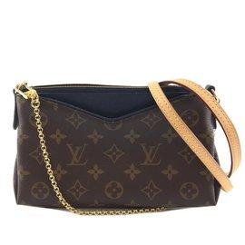 Louis Vuitton-Louis Vuitton Pallas Clutch Monogram Canvas Blue calf leather-Brown