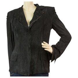 Yves Saint Laurent-Yves Saint Laurent YSL Black Suede Women's Jacket size 38-Black