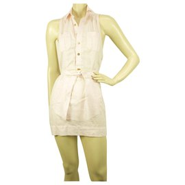 Dsquared2-Dsquared2 D2 Super Mini longueur rose chemise sans manches taille robe d'été 40-Rose