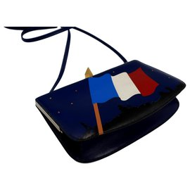 Hermès-Hermès Sac à Malice in blue leather, with the French flag in leather patchwork-Blue