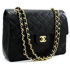 """Chanel-Chanel 2.55 lined flap  10"""" Chain Shoulder Bag-Black"""