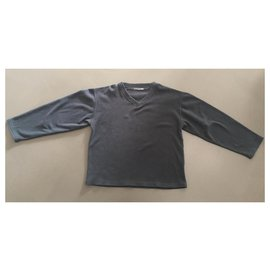 Autre Marque-Gray fleece V neck ML T. XL Family house-Dark grey