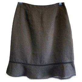 Blumarine-Linen skirt-Black