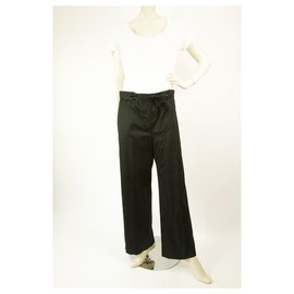 Yves Saint Laurent-Yves Saint Laurent Wool Straight Leg dress Court trousers pants size 36-Black