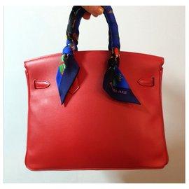 Hermès-HERMES BIRKIN 25 Rouge Vermillion GHW-Rouge
