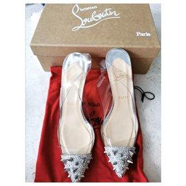 Christian Louboutin-Christian Louboutin spiked slingback heels shoes EU40-Silvery