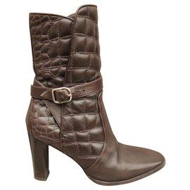 Hermès-Hermès p boots 35-Dark brown