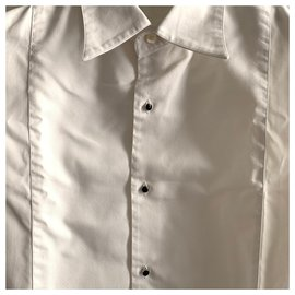 Roberto Cavalli-White cotton tuxed shirt-White