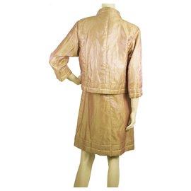 Chanel-CHANEL Peachy Pink Shiny Moire Short Zipper Jacket Mini Dress Suit Set sz 36-Other