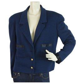 Chanel-CHANEL Vintage Blue Gold Buttons Single Brusted Short Jacket size 42-Blue