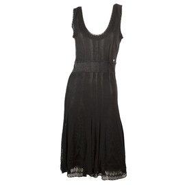 Chanel-CHANEL Black Fine Knit Viscose Knee Length Tank Sleeveless Dress sz 40-Black