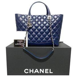 Chanel-Sac Chanel Matelasse en agneau-Bleu Marine