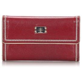 Chanel-Portefeuille à trois volets en cuir rouge Chanel-Rouge