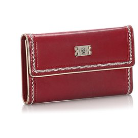 Chanel-Chanel Red Leather Tri-fold Wallet-Red