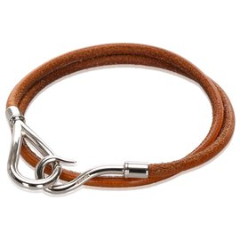 Hermès-Bracelet de visite doublé de crochets en cuir marron Hermes-Marron,Argenté