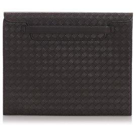 Bottega Veneta-Bottega Veneta Brown Intrecciato calf leather Tablet Cover-Brown