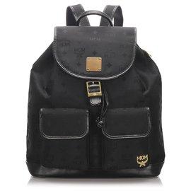 MCM-MCM Black Visetos Nylon Drawstring Backpack-Black