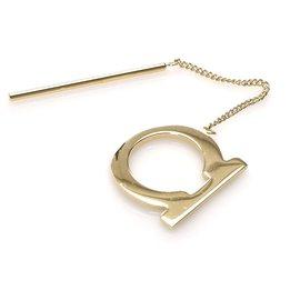 Salvatore Ferragamo-Ferragamo Gold Gancini Scarf Ring-Golden