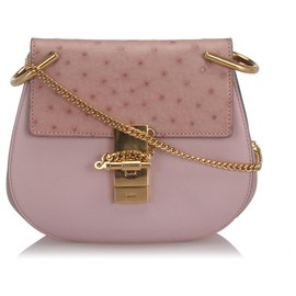 Chloé-Chloe Pink Ostrich Leather Drew Crossbody Bag-Pink
