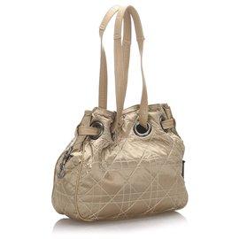 Dior-Dior Brown Cannage Sac à bandoulière en nylon-Marron,Beige