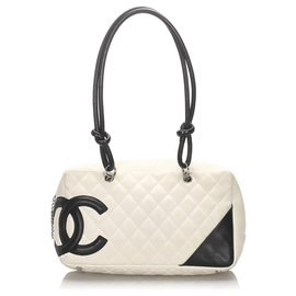 Chanel-Chanel White Cambon Ligne Shoulder Bag-Black,White