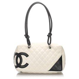 Chanel-Sac à bandoulière Chanel Blanc Cambon Ligne-Noir,Blanc