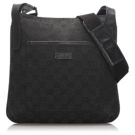 Gucci-Gucci Black GG Canvas Shoulder Bag-Black