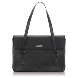 Burberry-Burberry Black Leather Tote Bag-Black